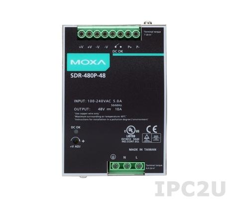 SDR-480P-48 480W/10A DIN-rail 48 VDC power supply with universal 90 to 264 VAC or 127 to 370 VDC input, -25 to 70C operating temperature, current sharing up to 3840 W