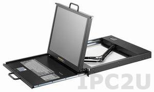 "AMK701-17PB 1U, 17"" LCD-Keyboard Drawer, Dual Rail, with 1.8m KVM cable, 1 port PS2 KVM (USB or PS2), TouchPad, Dual Rail, steel"