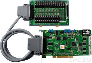 PCI-1802HU/S Universal PCI Adapter, 32SE/16D ADC, FIFO, 2 DAC, 16DI, 16DO, Timer, Cable Socket CA-4002