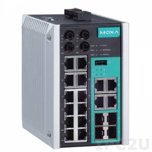 EDS-518E-MM-ST-4GTXSFP Managed Gigabit Ethernet switch with 12 10/100BaseT(X) ports, 2 100BaseFX multi-mode ports with ST connectors, and 4 combo 10/100/1000BaseT(X) or 100/1000BaseSFP ports, -10 to 60C operating temperature