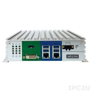 "NISE-106 Embedded Server, Intel Pentium N3700 1.6GHz, up to 4GB DDR3L RAM, DVI-D, HDMI, DP, 2xGbE LAN, 2xRS-232, 2xRS-232/422/485, 4xUSB, 2.5"" SATA HDD Drive Bay, CFast Slot, Mini-PCIe, 9..30V DC-In, without Power Adapter"