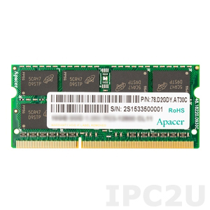 75.B93CG.G000C 4GB Apacer Memory DDR3 SODIMM 1333MHz Non-ECC 1R 512Mx8, IC MC-E, Wide Temperature -40..+85C