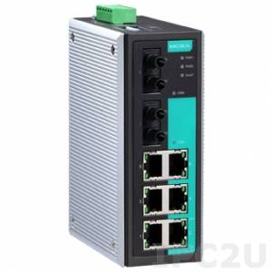 EDS-308-MM-ST Industrial Smart Ethernet Switch with 6 10/100BaseT Ports, 2 Multi Mode 100Base Fx Ports, ST Type Connectors
