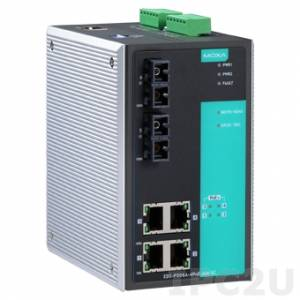 EDS-P506A-4PoE-MM-SC PoE+ managed Ethernet switch with 4 PoE+ 10/100BaseT(X) ports, and 2 100BaseFX multi-mode ports with SC connector, 0 to 60°C operating temperature