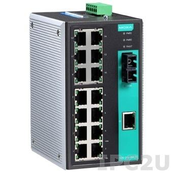 EDS-316-M-SC-T Industrial Ethernet Switch with 15 10/100BaseT(X) Ports, 1 Multi Mode 100Base FX Port, SC Type Connector, Extended Operating Temperature -40...+75°C, RoHS