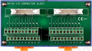 DN-20 2x20-pin Connector Termination Board, DIN-Rail Mounting