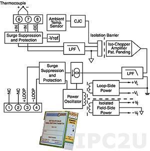 DSCT47J-01 Linearized Thermocouple Input Transmitter, Type J, Input 0...+760 °C, Output 4...20 mA