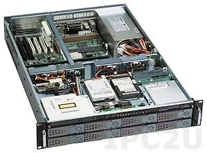 "GHI-280WV2-SATA 19"" Rackmount 2U Chassis EATX, 1x5.25"" Slim/1x3.5"" Slim/2x3.5"" HDD/8x3.5"" Hot Swap SATA HDD Drive Bays, 6 Horizontal Slots, without P/S"