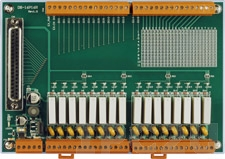 DB-16P16R/DIN 16 Channels Input Terminal and 16 Channel Relay Output, incl. CA-3710D Male- Male D-sub Cable 1.0M, DIN-Rail Mounting