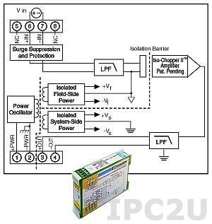 DSCA41-08E Isolated Analog Voltage Input Module, Input -20...+20 V, Output 0...20 mA, Wide Bandwidth