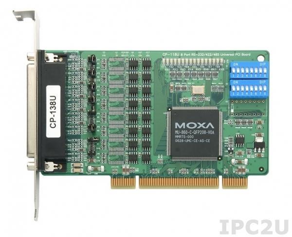 CP-118U 8xRS-232/422/485/921.6Kbps Universal PCI Smart Serial Board, Universal PCI Bus, Female DB62, 15KV ESD