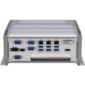 "NISE-3900E Fanless Embedded Server, Support 8th Gen Intel Core i7/i5/i3 CPUs, Intel Q370PCH Chipset, up to 16GB DDR4, DP, DVI-D, HDMI, 3xGbit LAN, 4xUSB 2.0, 6xUSB 3.1, 4xCOM, Audio, 2.5"" SATA HDD Bay, M.2, SIM, 1xMini-PCIe, 1xPCIe x4, 9...30V DC-In"