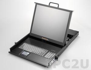 "AMK801-19UBD 1U, 19"" LCD-Keyboard Drawer, Single Rail, with 1.8m KVM cable, 1 port USB KVM, TouchPad, Single Rail, steel, 24-48 VDC"