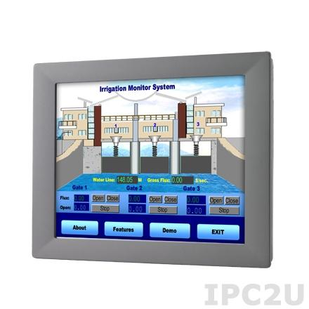 """FPM-2150G-R3BE Industrial Panel Monitor with 15"""" TFT LCD LED, 1024x768, brightness 400 nit, resistive touch (RS-232 & USB), VGA, power adapter 100-240V AC DC 60W"""