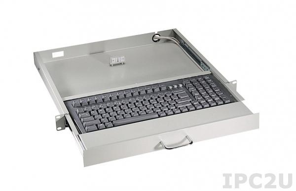 "AX7042T Retractable Industrial Keyboard for mounting 19"", 1U, 119 Keys, USB Interface, Black"